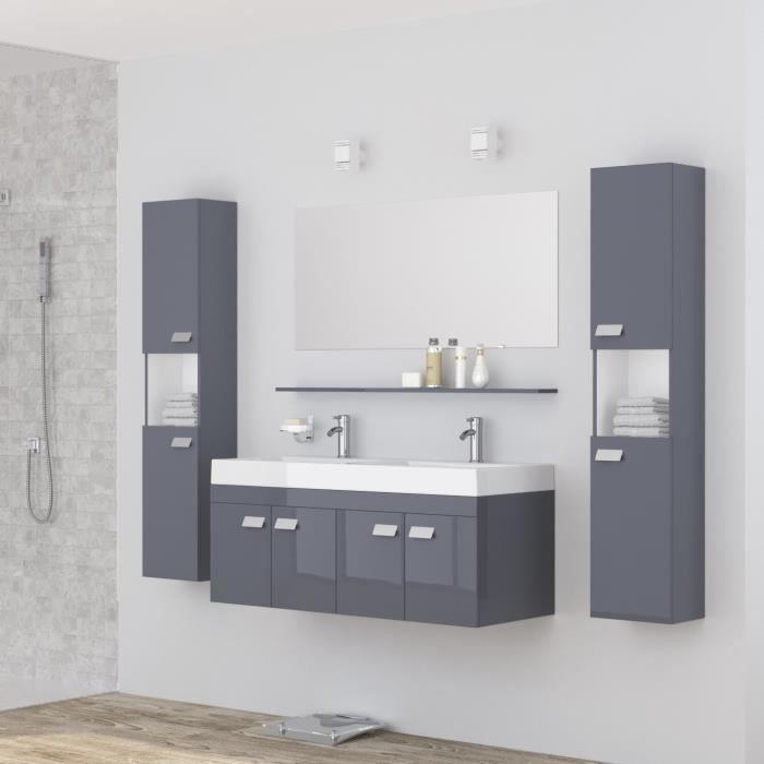 ALPOS Ensemble salle de bain double vasque L 120 cm - Laqué gris ...