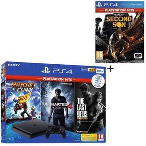 CONSOLE PS4 NOUVEAUTÉ Pack PS4 500 Go Noire + 4 Jeux PS Hits : The Last