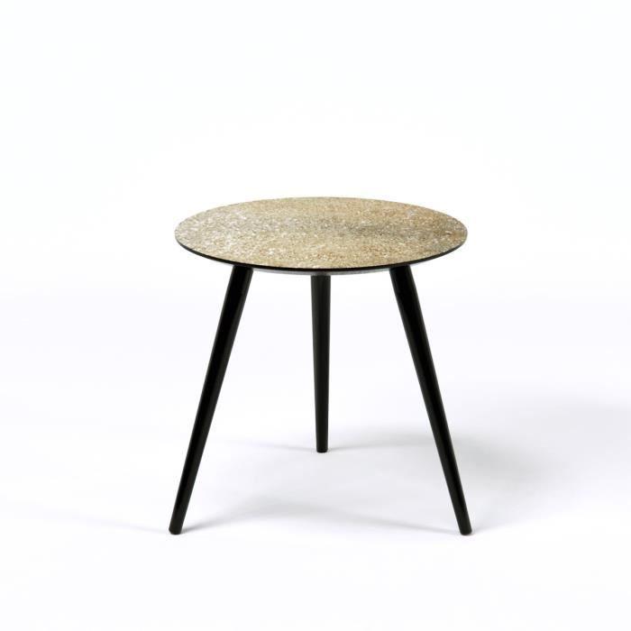 pepita table d 39 appoint ronde vintage en mdf recouverte de paillettes dor es avec pieds en bois. Black Bedroom Furniture Sets. Home Design Ideas