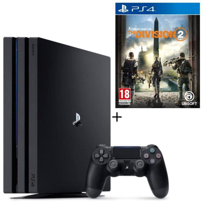 CONSOLE PS4 NOUVEAUTÉ Pack PS4 Pro 1 To Noire + The Division 2