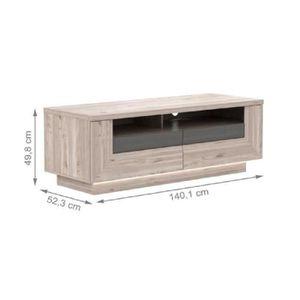 MEUBLE TV STAIRS Meuble TV 140 cm - Décor chêne nelson et gr