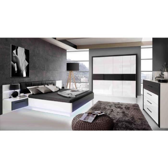 RECOVER Armoire de chambre style contemporain décor chêne noir et ...