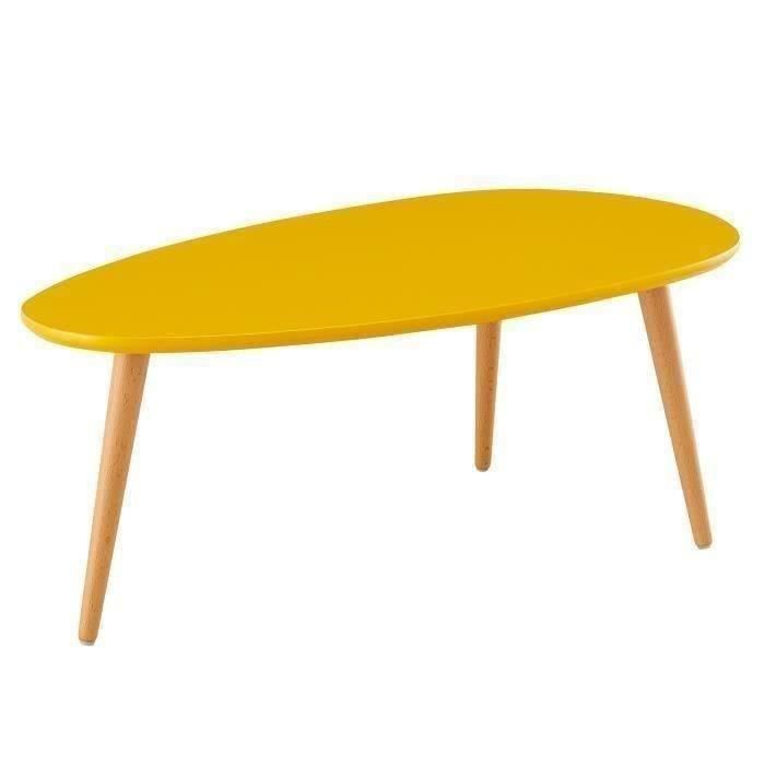 STONE Table basse ovale scandinave jaune moutarde laqué ...