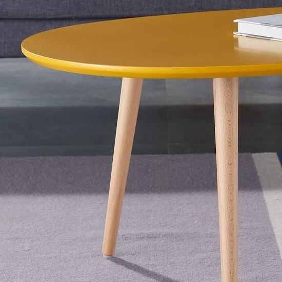 Stone Table Basse Ovale Scandinave Jaune Moutarde Laque L 98 X L