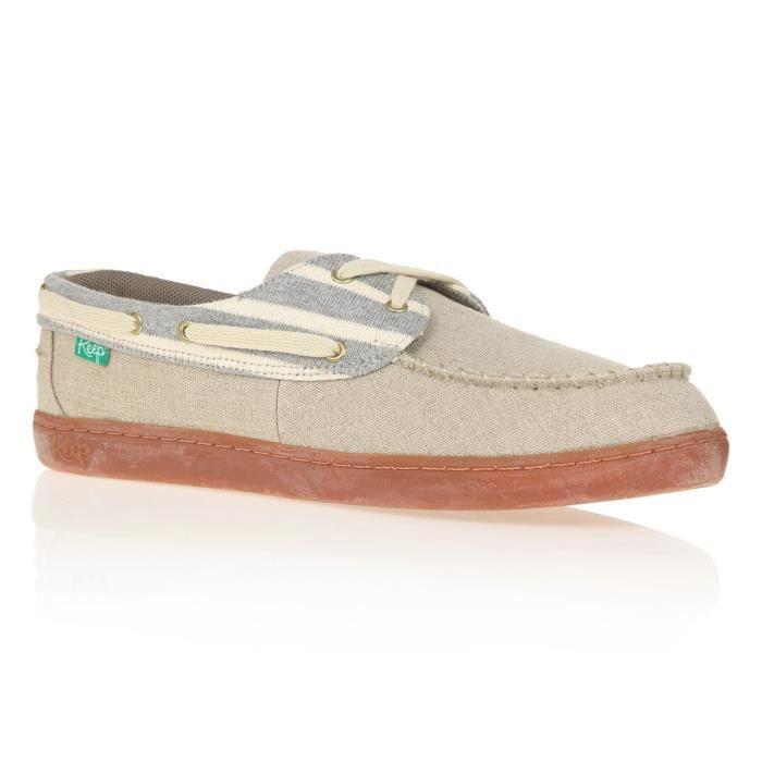 KEEP Chaussures Bateaux Benten Sun Stripe - Homme - Gris et Beige ES7xdiZ9