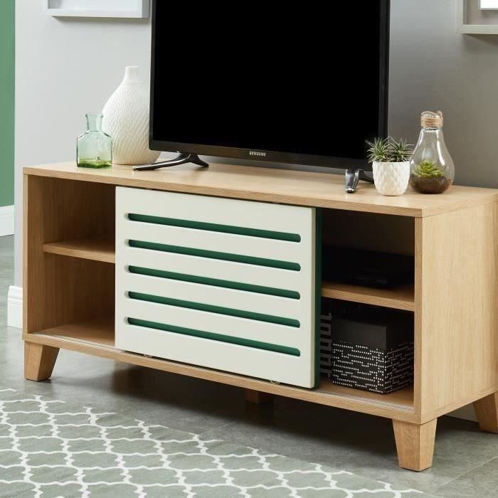MEUBLE TV OPENWORK Meuble TV scandinave décor chêne, blanc e