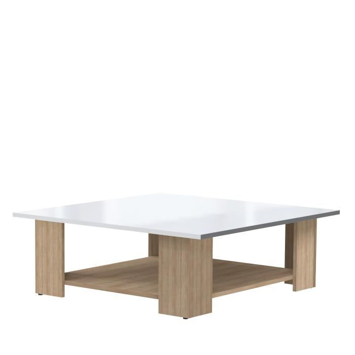 Lime table basse carr e col ch ne blanc laqu achat for Table basse scandinave blanc laque