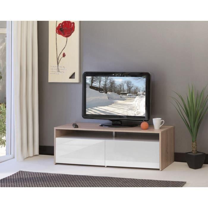 Sun Meuble Tv Contemporain Coloris Chene Et Blanc Laque Facades