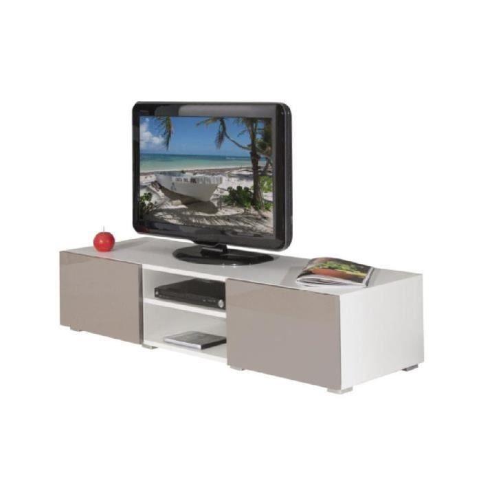 Mango Banc Tv 140Cm Blanc Et Façades Laquées Taupe - Achat / Vente