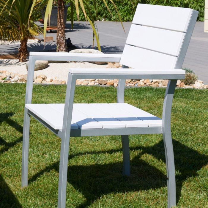 Fauteuil aluminium composite lame blanche - Achat / Vente fauteuil ...