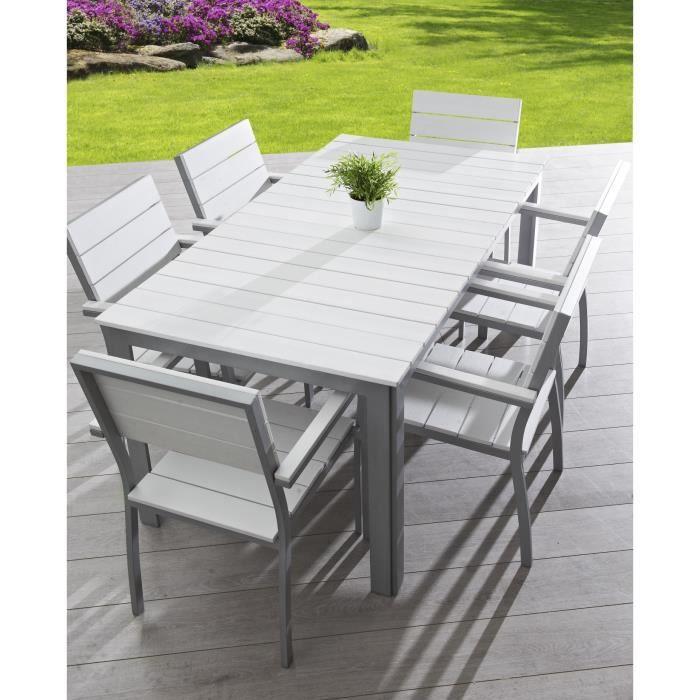 Salon de jardin 6 places aluminium composite blanc - Achat   Vente ... 98dc4174874f