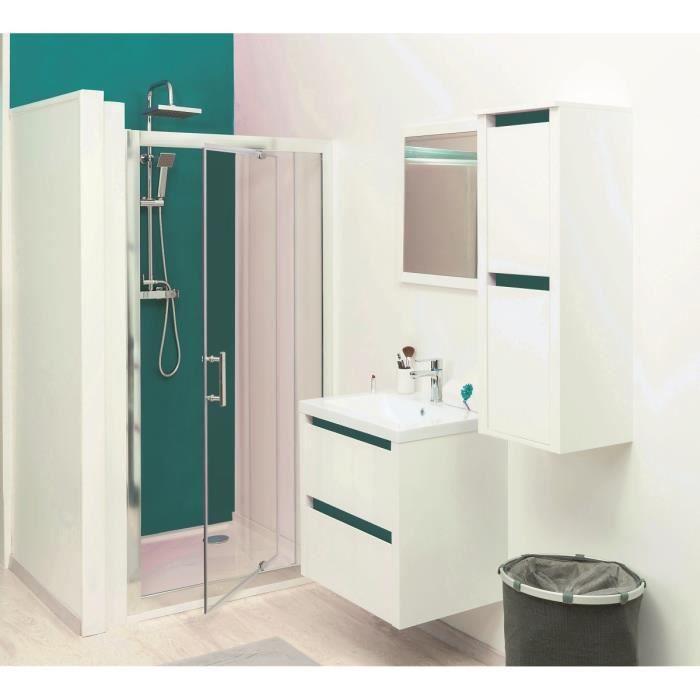 KRIS Colonne de salle de bain L 35 cm - Blanc et bleu lagon mat ...