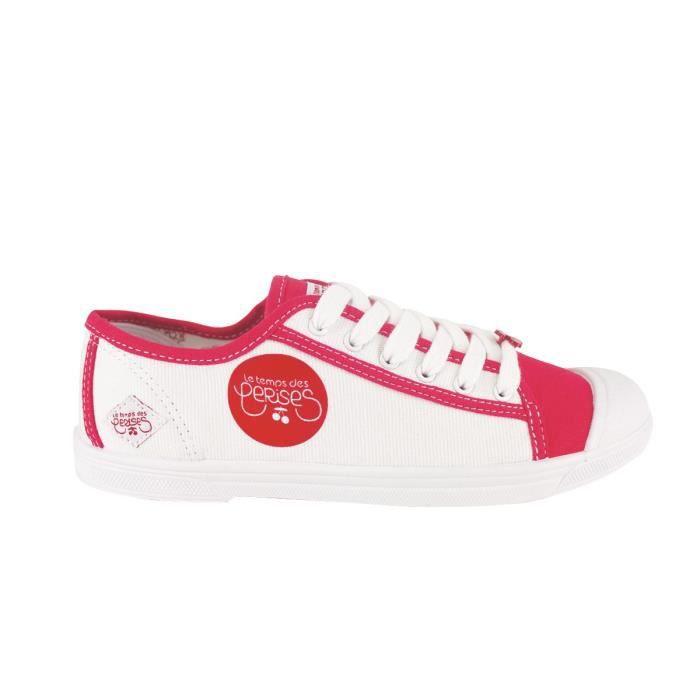 4d31f415d02b LE TEMPS DES CERISES Baskets en Toile Blanc et Rouge Logo LTC Rouge Femme