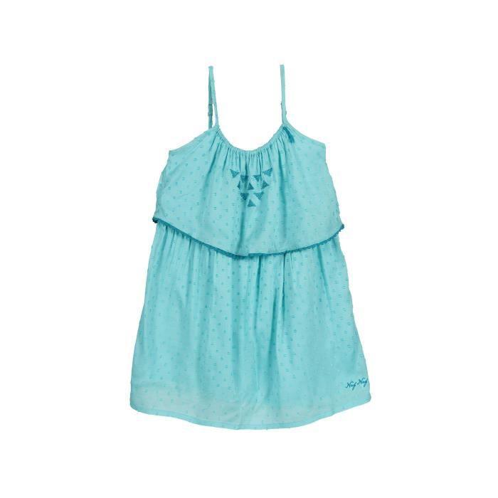 grossiste f0fce bf8ad NAF NAF - Robe Bleu Clair Brodée à Fines Bretelles 100% Coton - Enfant Fille
