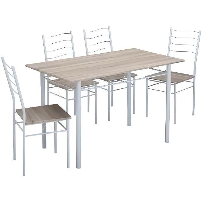 TABLE A MANGER COMPLET NINA Ensemble table à manger en métal et MDF 4 per