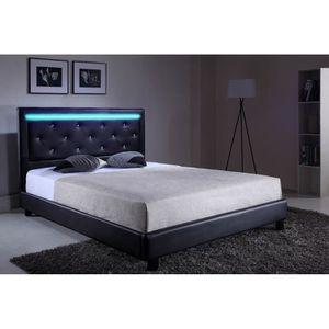 filip lit adulte sommier contemporain simili noir et strass avec led l 140 x l 190 cm. Black Bedroom Furniture Sets. Home Design Ideas