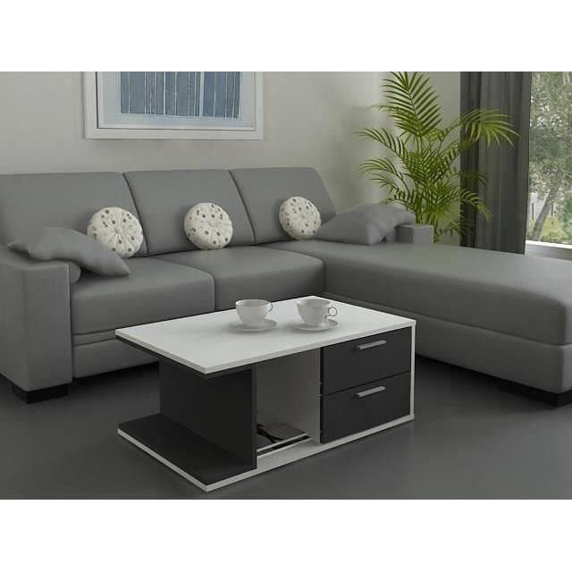 castel table basse blanc et gris 80 x 50 cm achat vente table basse castel table basse blanc. Black Bedroom Furniture Sets. Home Design Ideas