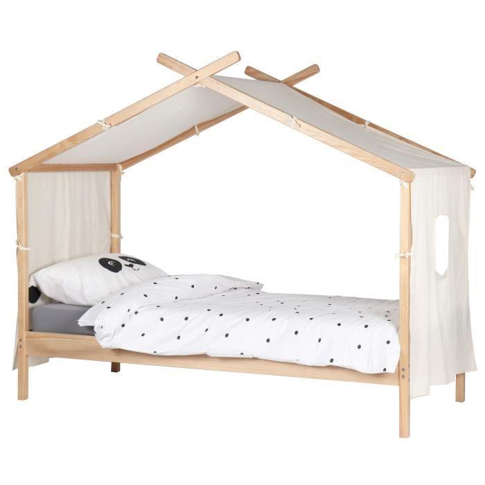 alouette lit enfant cabane scandinave bois et placage pin l 90 x l 200 cm - Lit Enfant Cabane