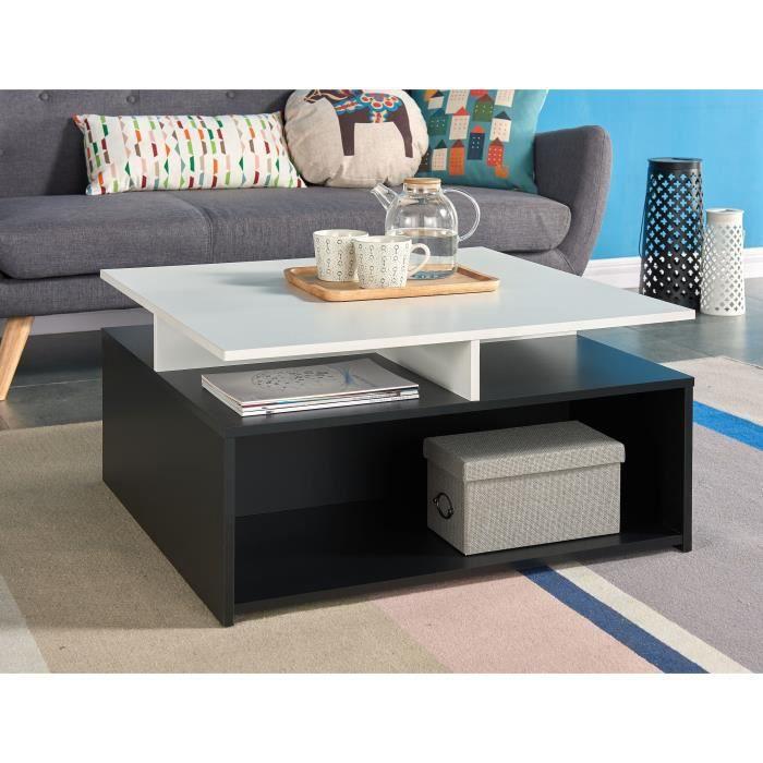 agnes table basse style contemporain blanc et noir l 80 x l 80 cm achat vente table basse. Black Bedroom Furniture Sets. Home Design Ideas