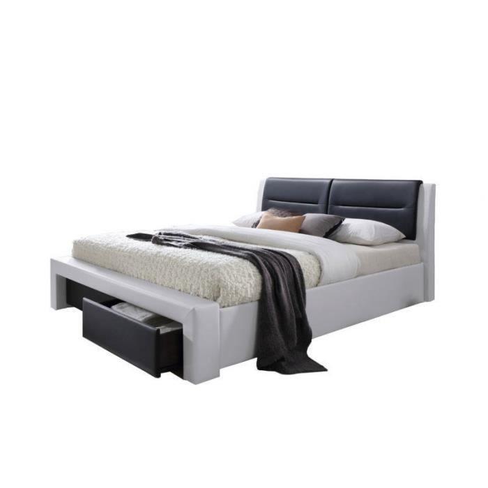 imagina lit adulte contemporain simili blanc et noir sommier inclus l 160 x l 200 cm achat. Black Bedroom Furniture Sets. Home Design Ideas