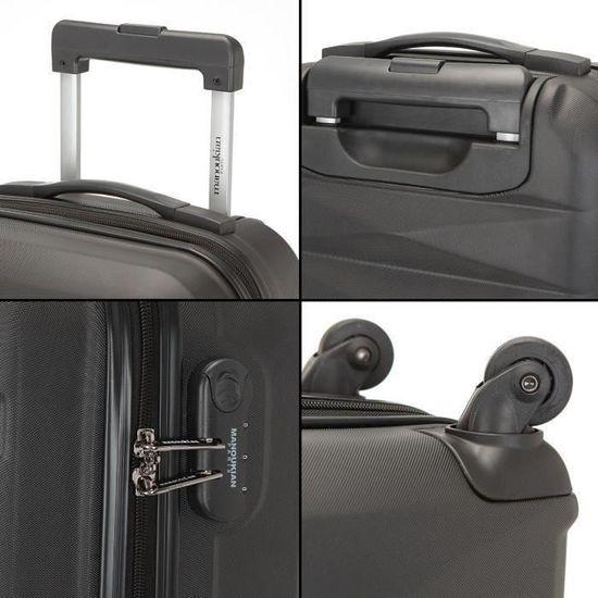 6158dfbce2 MANOUKIAN Set de 2 Valises Cabine low Cost Rigide ABS 4 Roues 48 cm CABINE  Noir et Silver Noir / Argent - Achat / Vente set de valises 3661954109019 -  ...