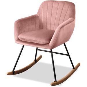 FAUTEUIL JENS Fauteuil Rocking Chair - Velours Vieux rose -