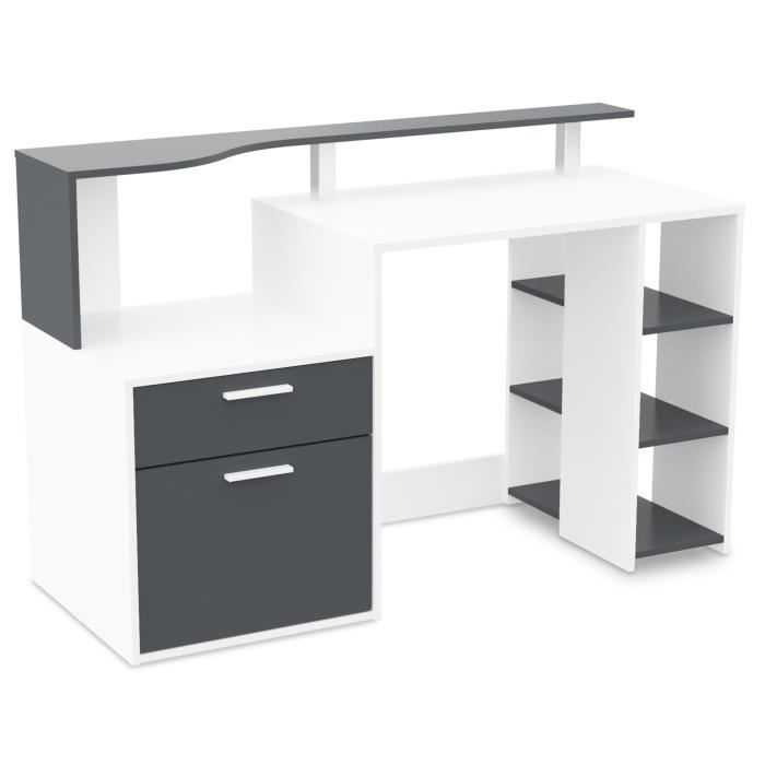 Oracle bureau classique en bois agglom r blanc et gris l 140 cm achat vente bureau oracle - Bureau classique ...