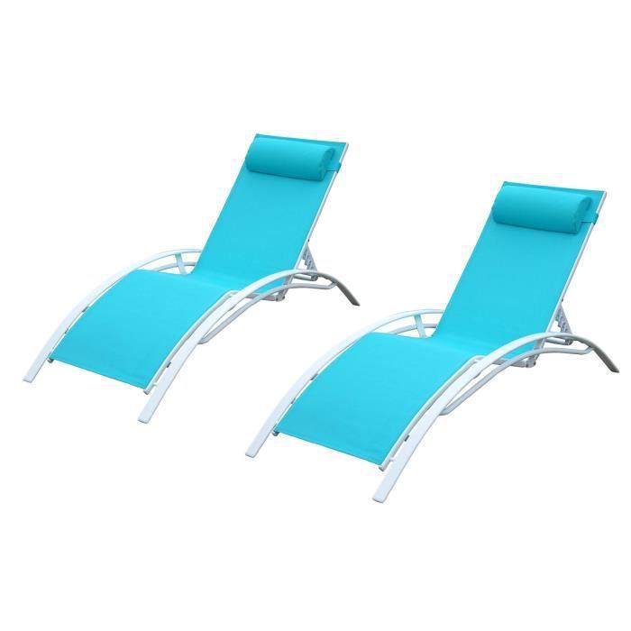 LOUNGITUDE Lot De 2 Transats En Aluminium Blanc Et O Trouver Loffre Chaise Longue Piscine