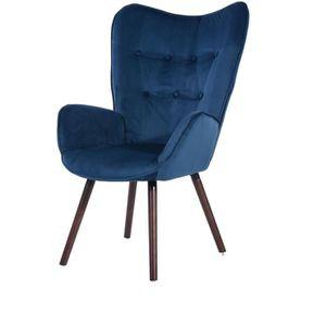 FAUTEUIL VIGGO Fauteuil   Tissu Velours Bleu Foncé   Style