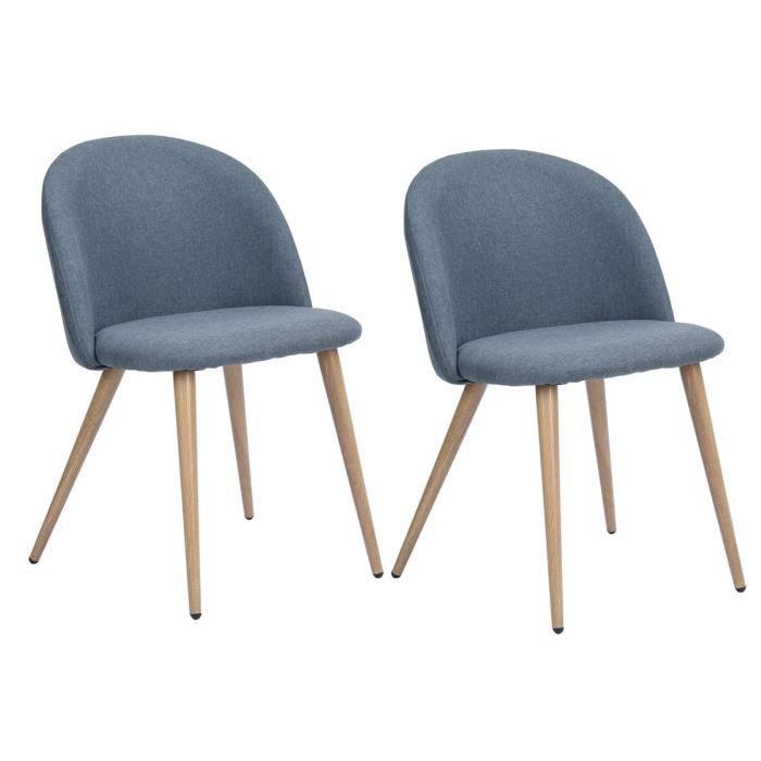 CHAISE ZOMBA Lot de 2 Chaises de salle à manger en métal