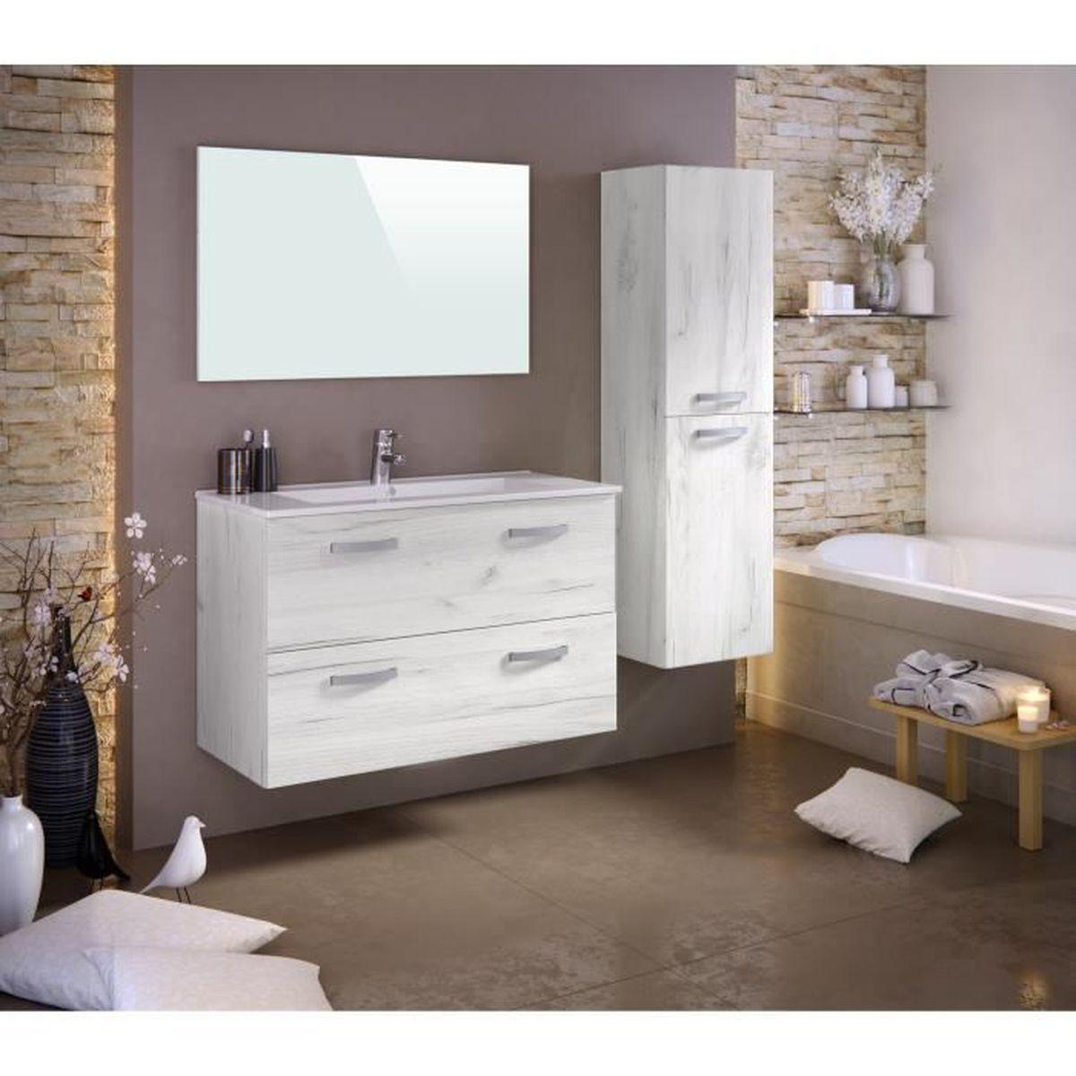 Meuble salle de bain couleur bois avec pied achat for Ou trouver meuble salle de bain