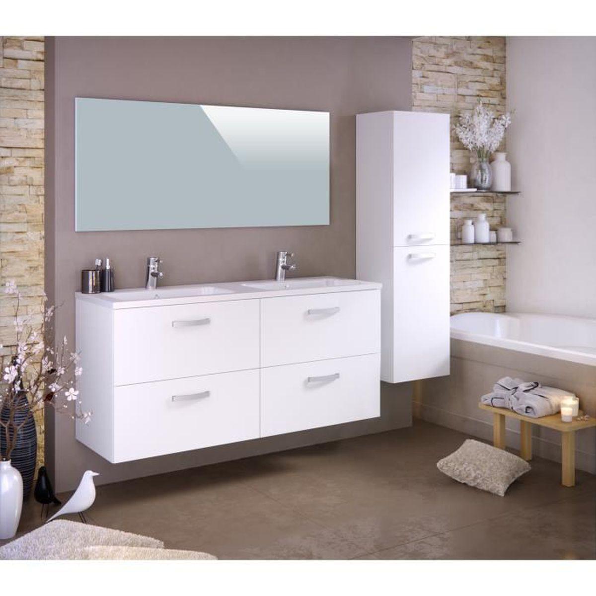 STELLA Ensemble salle de bain double vasque L 140 cm avec colonne et ...