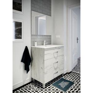 STELLA Ensemble Salle De Bain Simple Vasque Avec Miroir L 80 Cm   Blanc  Effet Bois