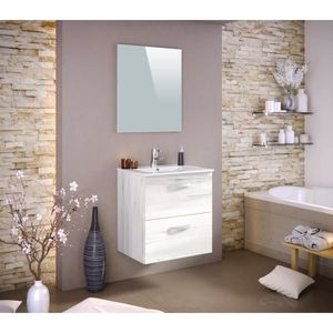 Meuble salle de bain avec vasque et miroir 60cm - Achat / Vente ...