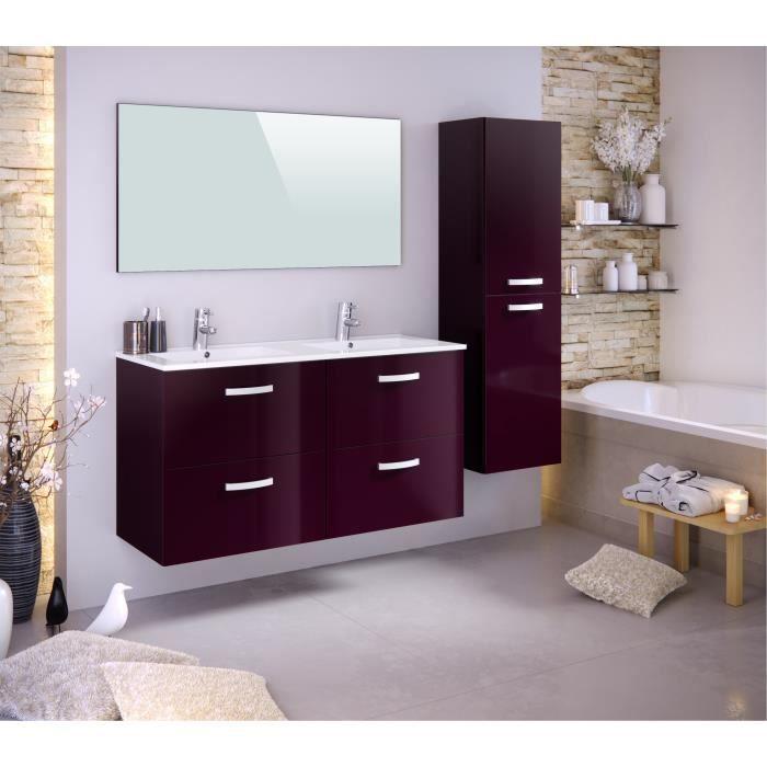 vasque avec colonne STELLA Ensemble salle de bain double vasque avec colonne et miroir L 120 cm  - Aubergine laqué brillant
