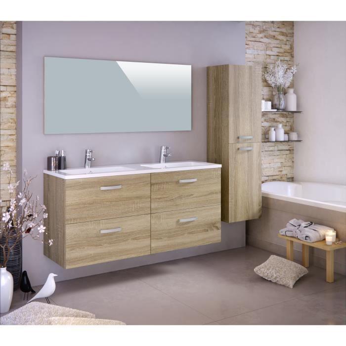 vasque avec colonne STELLA Ensemble salle de bain double vasque avec colonne et miroir L 120 cm  - Décor chêne