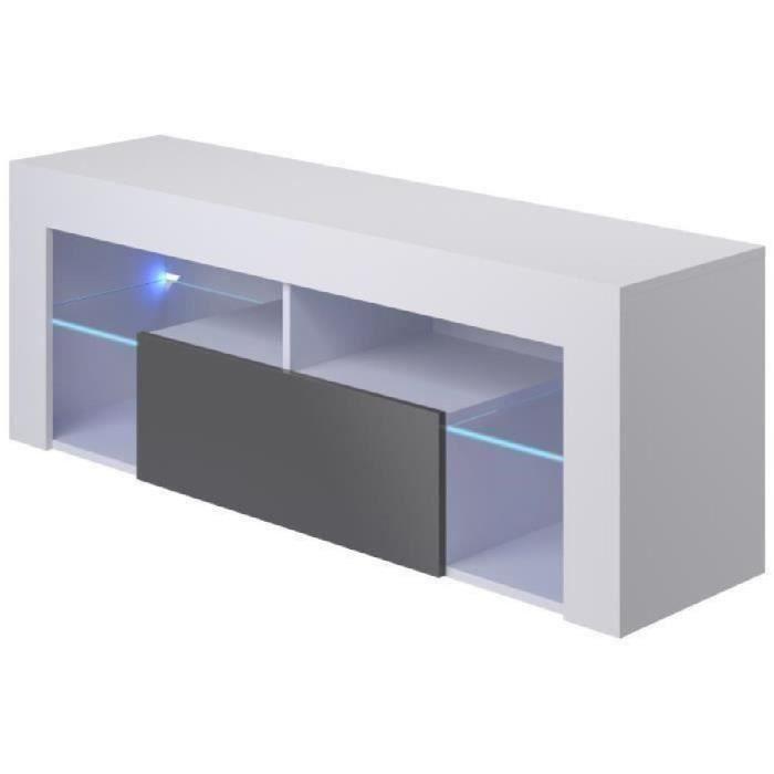 HUGO Meuble TV LED contemporain mélaminé blanc mat et gris