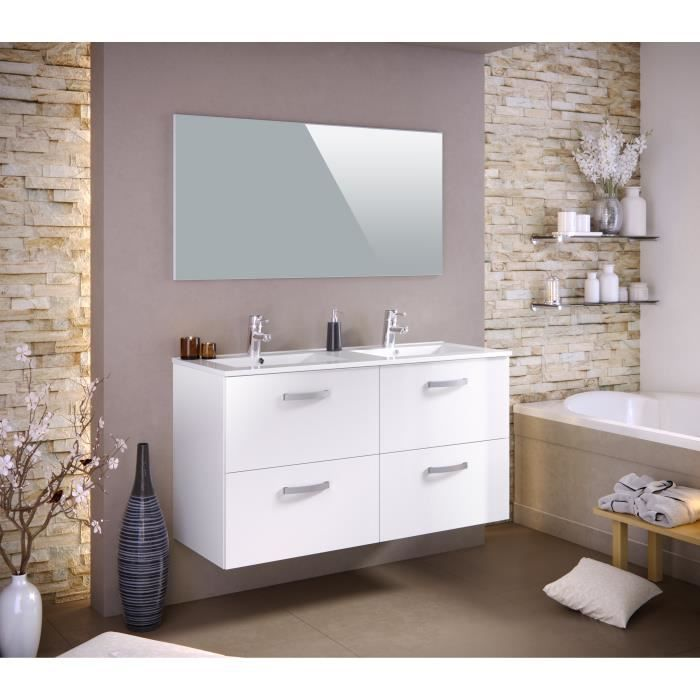 Stella Ensemble Salle De Bain Double Vasque Avec Miroir L 120 Cm Blanc Laque Brillant