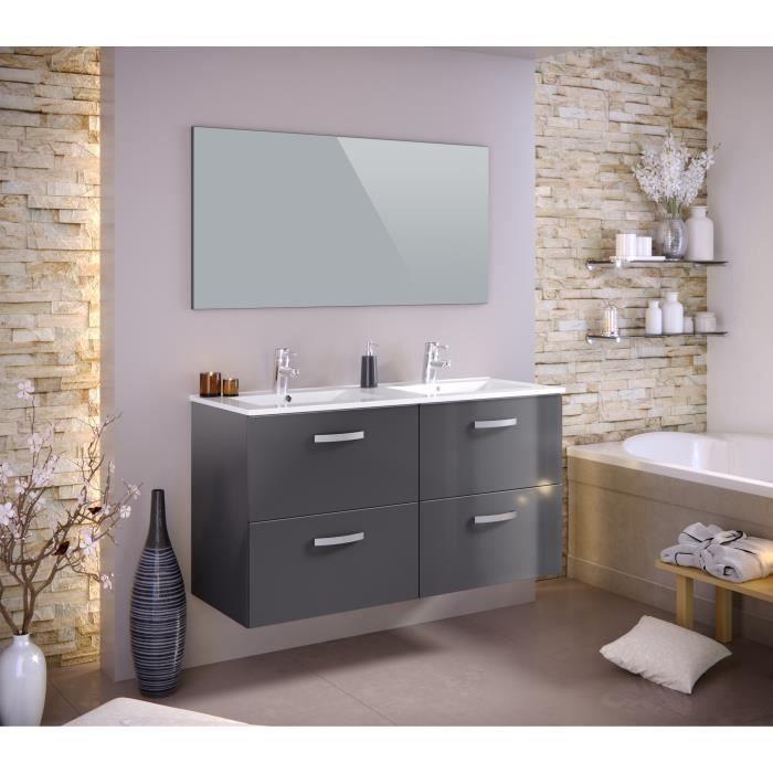 STELLA Ensemble salle de bain double vasque L 120 cm - Laqué gris ...