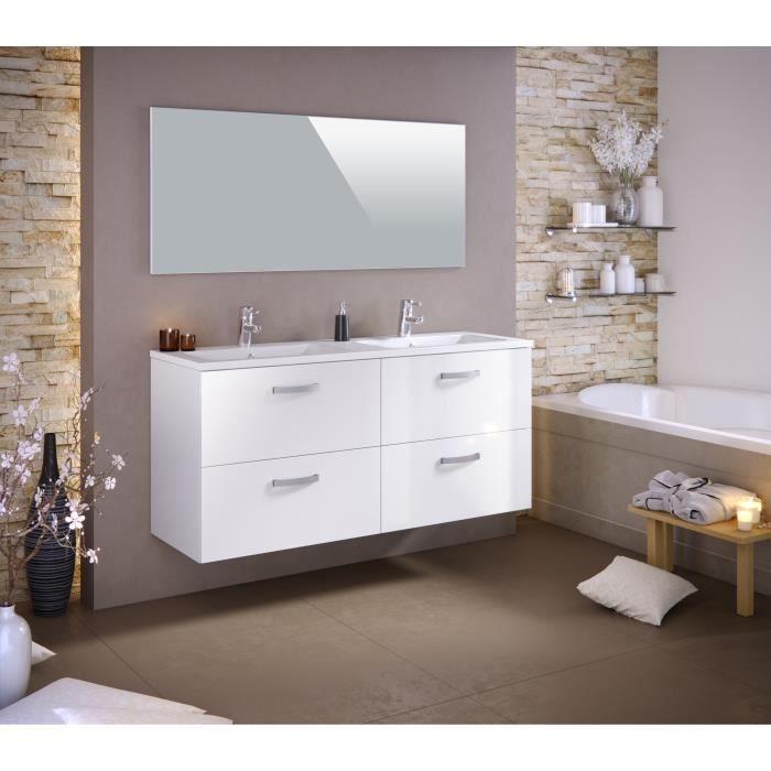 stella ensemble salle de bain double vasque l 140 cm avec miroir laqu blanc brillant achat. Black Bedroom Furniture Sets. Home Design Ideas