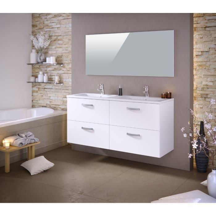 STELLA Ensemble salle de bain double vasque avec miroir L 140 cm ...