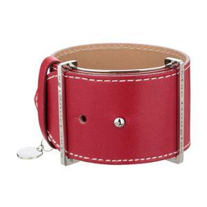 BRACELET - GOURMETTE MAC DOUGLAS Bracelet Acier Cuir Rouge Manchette Ma