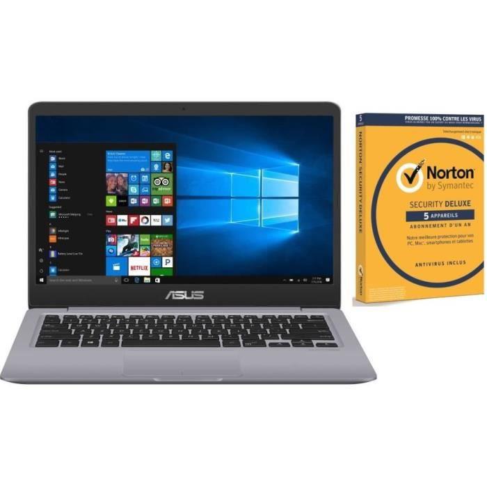 37ead87021c32e Pack Ordinateur Portable ASUS VivoBook S401UA-BV810T - 14 pouces - RAM 4Go  - Stockage 128Go SSD + Norton Security 2018 Deluxe