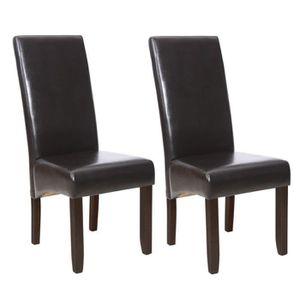 Chaise salle a manger cuir noir - Achat / Vente pas cher