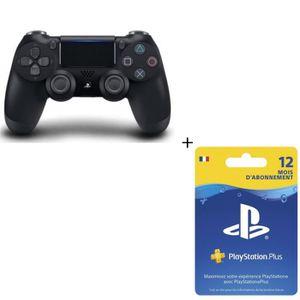 PACK ACCESSOIRE Manette DualShock 4 Noire V2 PS4 + Abonnement Play