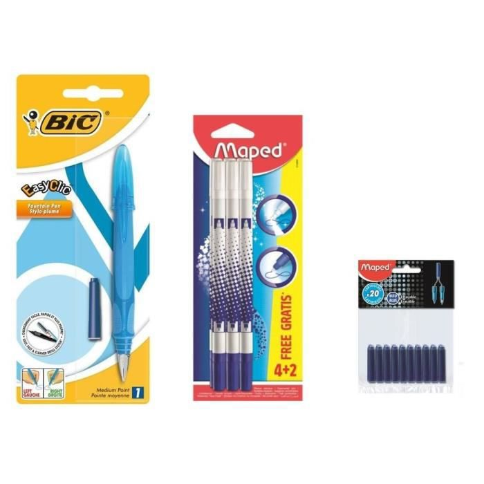 Pack Bic Stylo Plume Easy Clic 6 Effaceurs 40 Cartouches Achat
