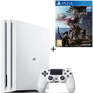 CONSOLE PS4 NOUVEAUTÉ PS4 Pro Blanche 1 To + Monster Hunter World Jeu PS
