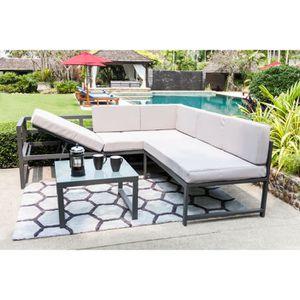 Salon de jardin table basse fauteuil et canape - Achat / Vente pas ...
