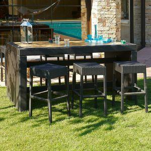 CUBA Ensemble table bar de jardin et 6 tabourets résine tressée ...