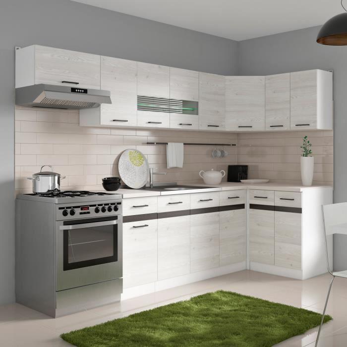 junona cuisine d 39 angle compl te avec clairage led et plan de travail l 3m40 d cor ch ne. Black Bedroom Furniture Sets. Home Design Ideas